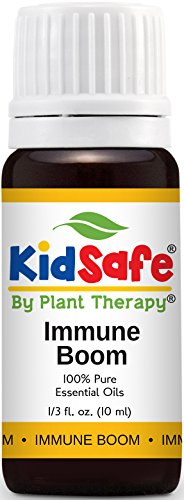Plant Therapy KidSafe Immune Boom Synergy Essential Oil Blend. Blend of: Lemon, Palmarosa, Dill, Petitgrain, Copaiba and Frankincense Carteri. 10 ml (1/3 oz).