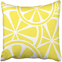 KJONG Lemon Slices Yellow Summer Zippered Pillow Cover,20X20 inch Square Decorative Throw Pillow Case Fashion Style Cushion Covers(Two Sides Print)
