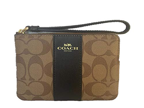 Coach-Signature-PVC-Leather-Corner-Zip-Wristlet-F58035-KhakiBlack-Small
