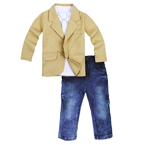 Baby Boy Gentleman 3 Pieces Shirt Jacket Jeans Set Toddler Pants Clothing (2-3T, Khaki)
