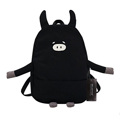 Canvas Backpack Shoulder Widewing Causal Cartoon Women Pig Pink Bag Lovely Black Shape FT18x05q8w