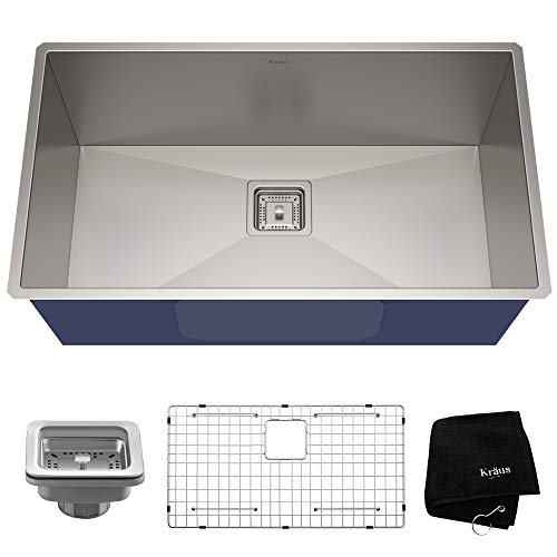 0.5 Inch Kitchen Sink - KRAUS Pax 31 1/2-inch 16 Gauge Undermount Single Bowl Stainless Steel Kitchen Sink, KHU32