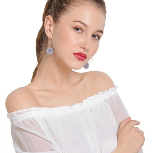 Paymenow Ball Dangling Earrings Light Weight 1 Pair Hoop Drop Earrings for Women Girls Fashion Jewelry (Gray)