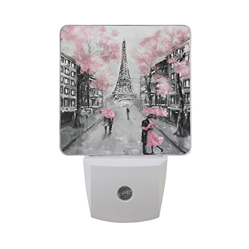 ALAZA Art Paris Street Eiffel Tower Pink Floral LED Night Light Dusk to Dawn Sensor Plug in Night Home Decor Desk Lamp for Adult