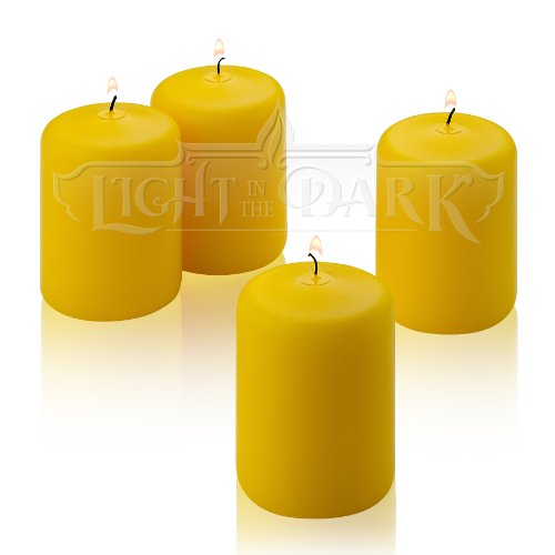 4 Yellow Citronella Scented Pillar Candle 3 Inch Tall X 2 Inch Wide