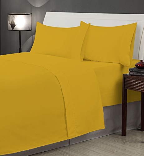 Casual Living Solid 6pc Microfiber Sheet Set, Queen, Honey Mustard