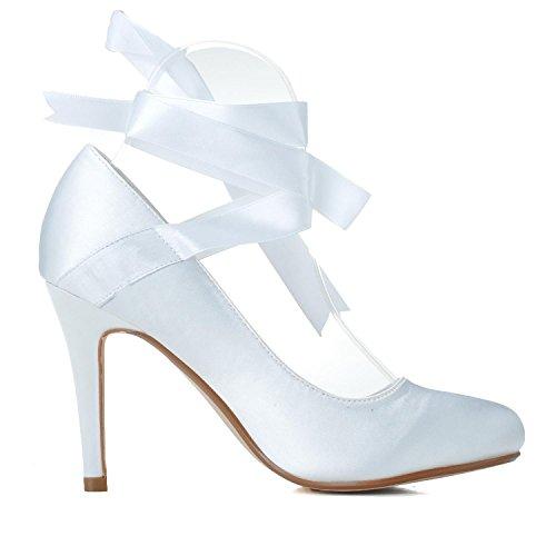 L@YC Frauen Hochzeit High Heels TU-5623-05 Plattform Seide Brautkleid Prom Party Schuhe White