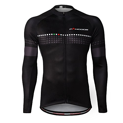 Winter Cycling Jersey - PANDOOM Outdoor Sports Men's Windproof Long Sleeves Winter Fleece Thermal Cycling Bicycle Jersey Jacket Size L