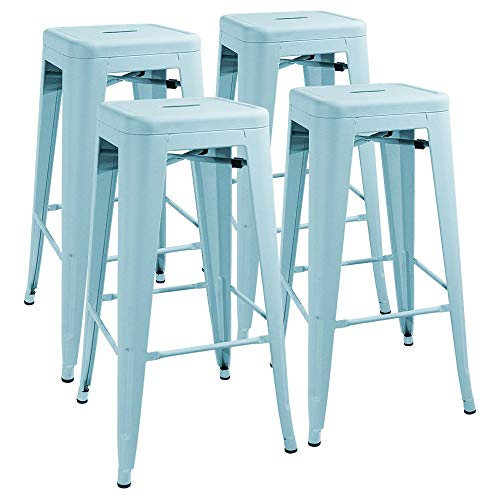 Furmax 30 Inches Metal Bar Stools High Backless Stools Indoor-Outdoor Stackable Stools Set of 4 Dream Blue