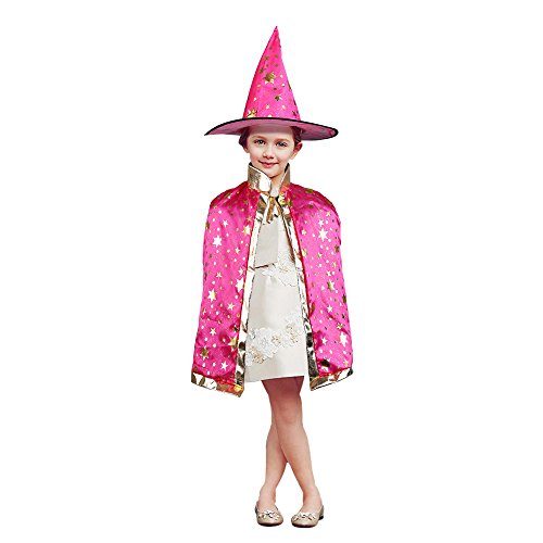 [TOPQSC Halloween Stars Cloak Witch Wizard Set Five Star Cape Costumes with Hat Unisex Kid Coat Gown Robe for Christmas and Cosplay Party Dress Up(Rose)] (Pink Costumes Cape)