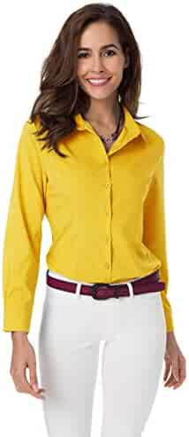 36b1cd19c272 Womens Basic Long Sleeve Button Down Shirts Simple Pullover Stretch Formal  Casual Shirt