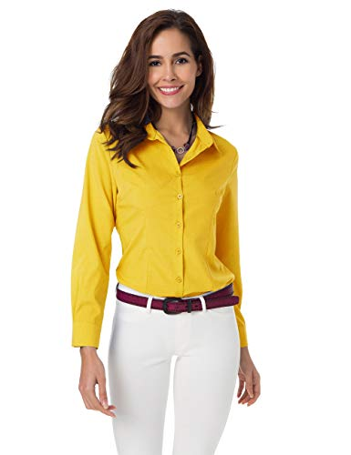 Atnlewhi Womens Basic Long Sleeve Button Down Shirts Simple Pullover Stretch Formal Casual Shirt -