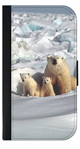 Polar Bears in the Snow - Wallet Style Flip Phone Case Compatible with s3/s4/s5/s6/s6edge/s7/s7edge/s8/s8Plus - Select Your Compatible Phone Model
