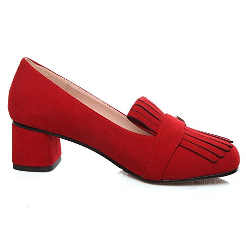 Mid Fashion Women Red Court Heels TAOFFEN Square Shoes wzpBUq11at