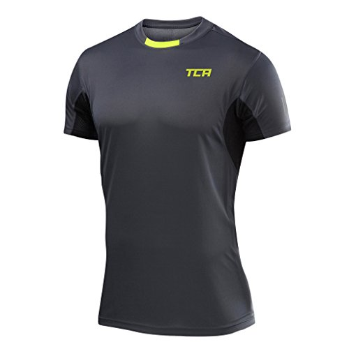 TCA Mens Short Sleeve Atomic Quickdry Gym Training Top - Graphite, -