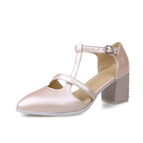 Heels Buckle AgooLar Closed PU Toe Pink Solid Pointed Sandals Kitten Women's xw6pCqR