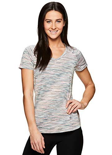 (RBX Active Women's Space Dye V-Neck Short Sleeve T-Shirt Multi Green S)