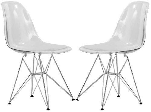 LeisureMod Cresco Molded Eiffel Side Chair, Clear, Set of 2