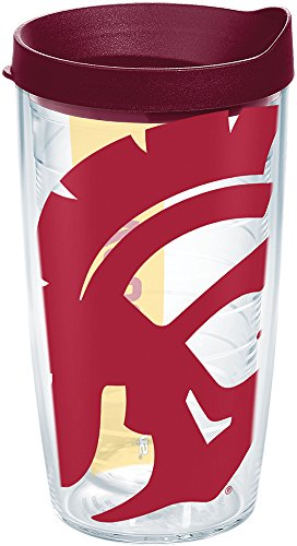 Tervis 1238864 Usc Trojans Colossal Insulated Tumbler with Wrap and Maroon Lid, 16 oz, Clear ()