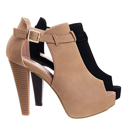Out Shoes Cut Peep Toe (Table45 Tan Stacked Block Heel Ankle Boots w Peep Toe, Side Cutout & Hidden Platform -6)