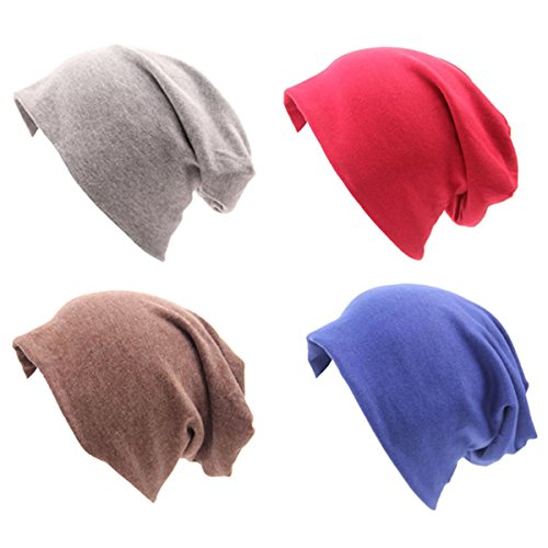 Cotton Knit Beanie - JOYEBUY 4 Pack Women Men Stylish Cotton Beanie Cap Slouchy Beanies Hats Soft Sleep Cap (Style C)