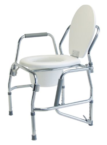 Lumex Platinum Collection 3 In 1 Steel Padded Drop Arm Commode, Chrome 6437A by Lumex