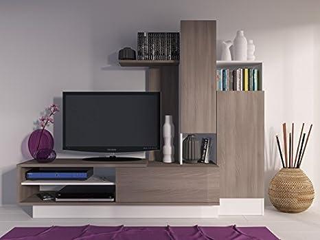 Abitti Mueble para Salon Comedor Color café Madera y Blanco. 200 cm Ancho X 40 Fondo x 162,5 cm Altura.