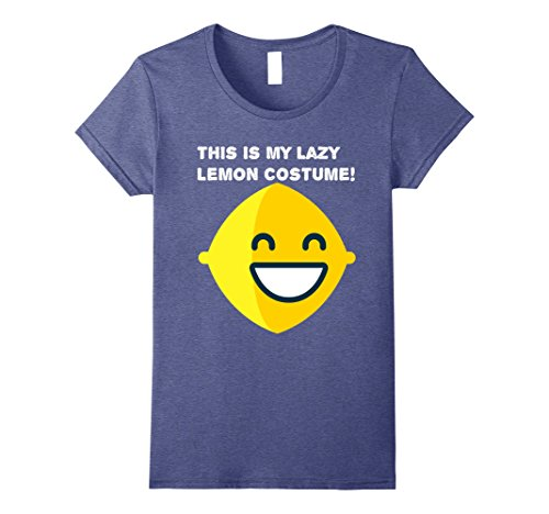 Womens This Is My Lazy Lemon Costume! T-Shirt Small Heather Blue - Smiling Emoji Adult Mask