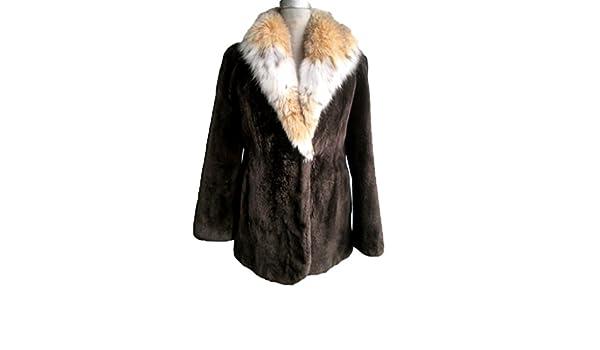 ca4f5a012e658 Women's New Brown Sheared Beaver Fur Coat Jacket Stroller with Lynx Fur  Collar at Amazon Women's Coats Shop