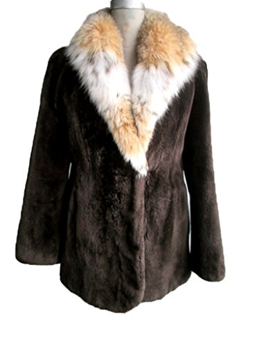 Women's New Brown Sheared Beaver Fur Coat Jacket Stroller with Lynx Fur Collar