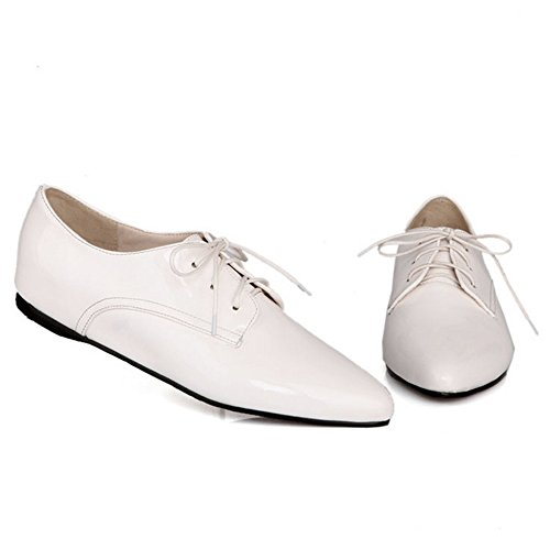 RAZAMAZA Women Fashion Lace Up Court Shoes White SPF9tOB