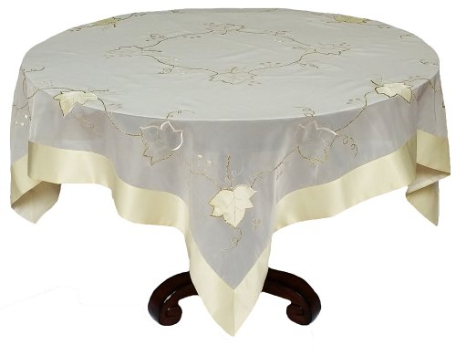 Xia Home Fashions Elegant Sheer with Golden Stitching Leaf Table Topper, 36 by 36-Inch by Xia Home Fashions