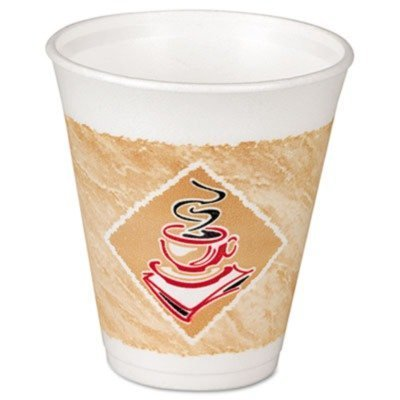DART DCC 8X8G Caf G Design Foam Cup 8 Oz - 1000-Case by Dart Container Corp.
