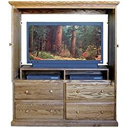 Traditional TV Armoire: 57W x 66H x 18D Whitewash Oak