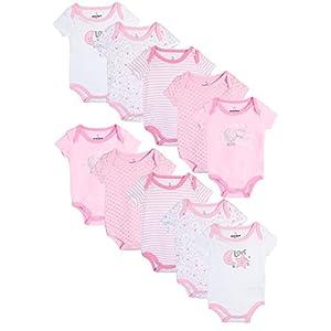 Duck Duck Goose Baby Girl's Short Sleeve Bodysuits (10 Pack) Love (Girls), 3-6 Months'
