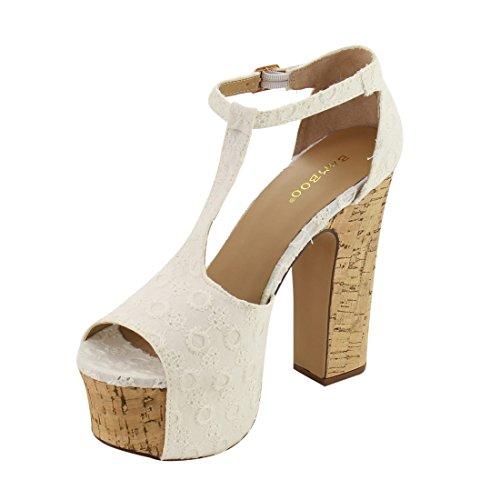 BAMBOO EG90 Womens Peep Toe T-Strap Buckle Chunky Heel Platform Sandals White sitl6wo4Ov