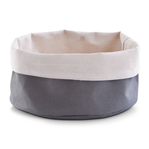 Zeller-18002-Cesta-para-el-pan-algodn-redonda-20-x-12-cm-color-gris-y-crema