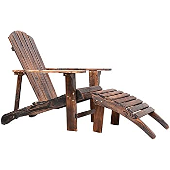 Outsunny Wooden Adirondack Outdoor Patio Lounge Chair w/ Ottoman - Rustic Brown
