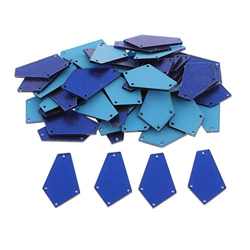 Blue Full Rhinestones Snap - 50pcs Trapezoid Mirror Sew on Rhinestones Flatback Acrylic Stone for Decor | Color - Blue
