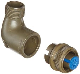 Amphenol Industrial 97-3108B-10SL-4S Circular Connector Socket, Threaded Coupling, Solder Termination, Angle Plug, Split Backshell, 10SL-4 Insert Arrangement, 10SL Shell Size, 2 Contacts