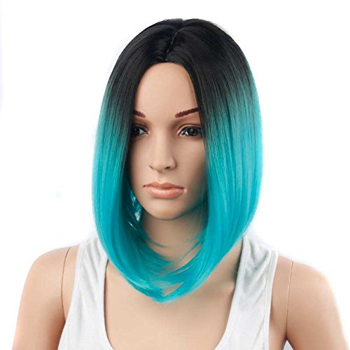 Black/Cyan Ombre Wig Full Head Bob Style Straight Cosplay Synthetic Wigs Middle Part Natural Hair Wigs for Women ()