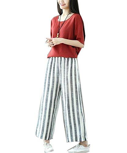 Lin Casual Blanc Marque Noir Élégant Élastique Taille Palazzo Streifen Pantalons Tissu Mode Franges Été Pantalon Large Bolawoo Femmes ExqHvwazx