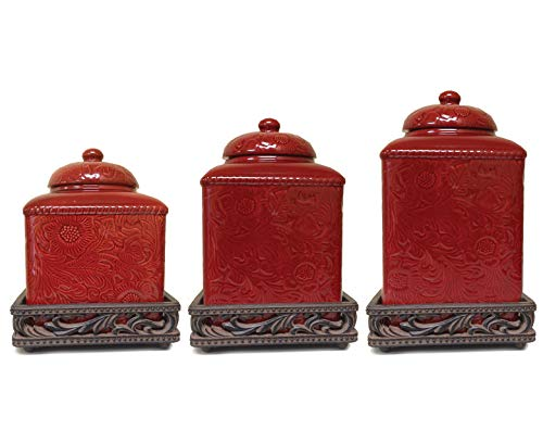 HiEnd Accents LF4001CS-OS-RD Savannah Canister and Base Set, 6 Piece, Red (Ceramic Sets Canister)
