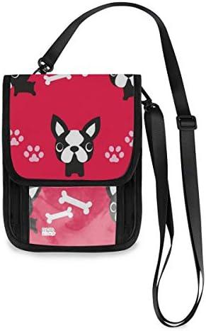 トラベルウォレット ミニ ネックポーチトラベルポーチ ポータブル 犬柄 パグ ブルドッグ 小さな財布 斜めのパッケージ 首ひも調節可能 ネックポーチ スキミング防止 男女兼用 トラベルポーチ カードケース