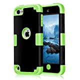 iPod Touch 6 Case, Asstar [Stand Feature] Durable Soft TPU+PC 3 in 1 Hybird Hard Back All-round Protection Case Suitable for Apple iPod touch 5 6th Generatio (Green)