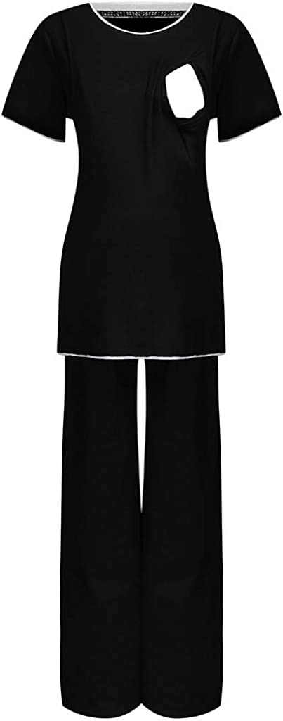 Mumustar Maternity Pajamas Set for Hospital Women Short Sleeve Breastfeeding Pregnancy Clothes Sleepwear Nursing Pjs Nightwear Suit
