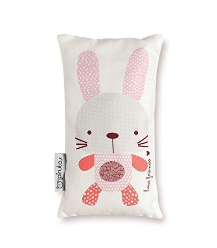 Pirulos Love Friends Cojín con Relleno Estampado con un Conejo para la Habitación del bebé de 25x30 cm, Color Blanco y Rosa