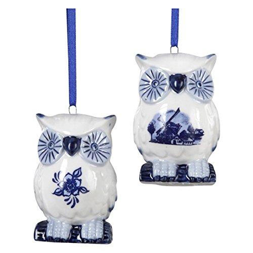 Porcelain Delft Blue Owl Ornament Set Of 2