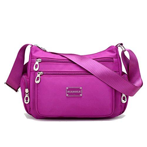 violet Messager Bourse pour Sac Multi Voyage poches main clair violet camo d'épaule Décontractée filles Mode Howoo à Sac bandoulière Sac Nylon femmes qvSwRR