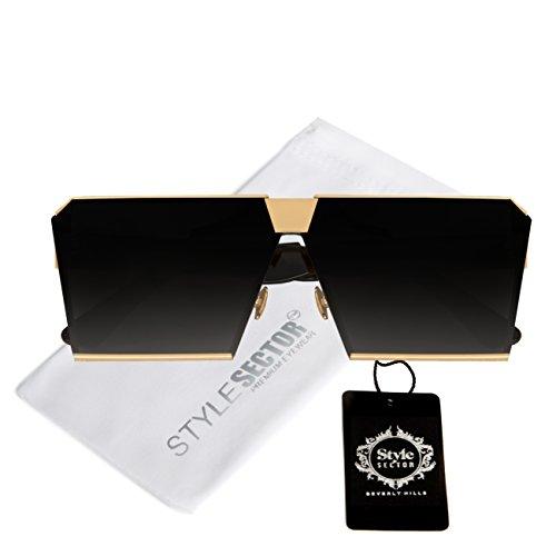Oversized Square Sunglasses with Flat Top Metal Frame - Sunglasses Top Quay Flat